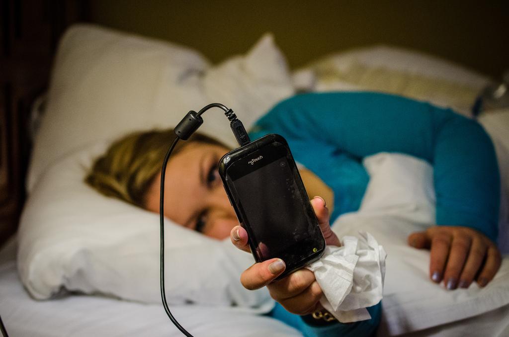 Smartphone in bed